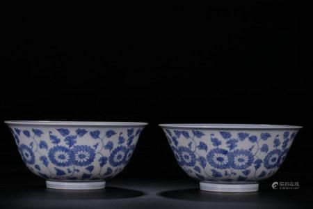 CHENGHUA MARK, PAIR OF CHINESE BLUE & WHITE BOWL