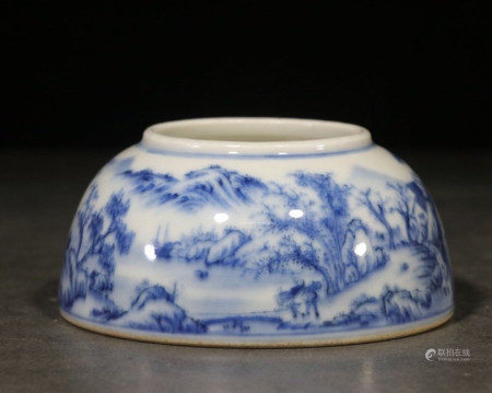 CHINESE BLUE & WHITE WATER POT