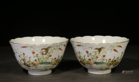 QIANLONG MARK, PAIR OF CHINESE FAMILLE ROSE CUP