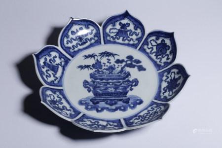 YONGZHENG MARK, CHINESE BLUE & WHITE PLATE