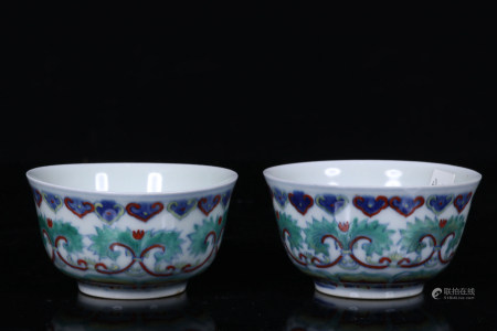 PAIR OF CHINESE DOUCAI CUP