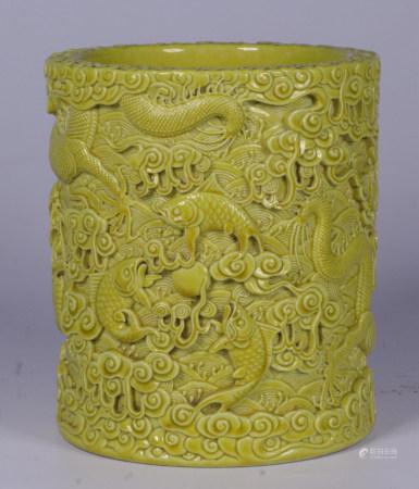 CHINESE YELLOW GLAZED DRAGON BRUSHPOT