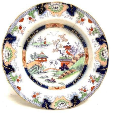 Antique Coalport porcelain imari dinner plate decorated