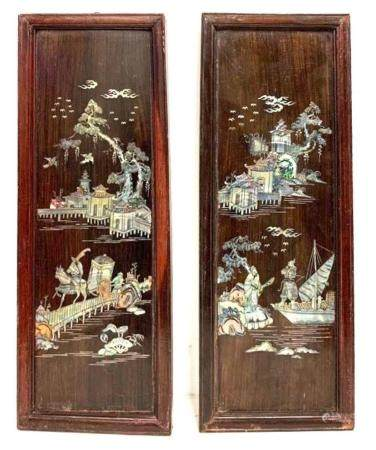 Set of two Carved Asian Wood Panels with Mother of Pearl Inl