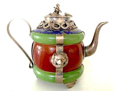 """""""China Opium Pot Late Nineteenth Form Of Teapot Signed Ename"""