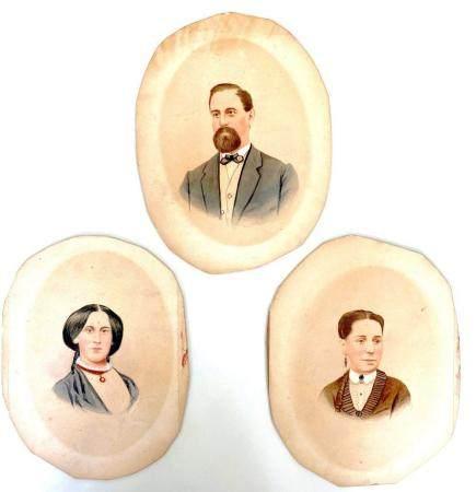 Lot 3 ANTIQUE DAGUERREOTYPE HAND COLORED 1860S