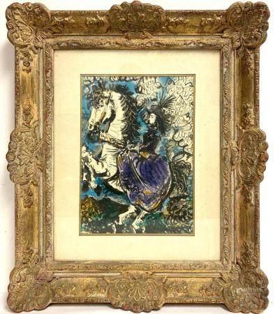 """1961 PABLO PICASSO Color """"Woman in Purple on White Horse"""" Li"""