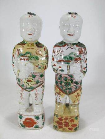 Antique Chinese pair of porcelain figures