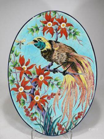 Antique French Longwy Paradisier porcelain tray