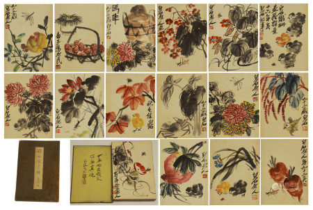 CHINESE PAINTING ALBUM OF FLOWERS AND INSECTS BY QI BAISHI