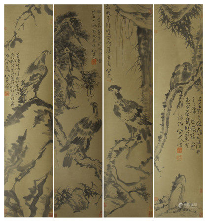 SET OF 4 CHINESE PAINTING OF EAGLE ON THE TREE BY BADA SHANREN