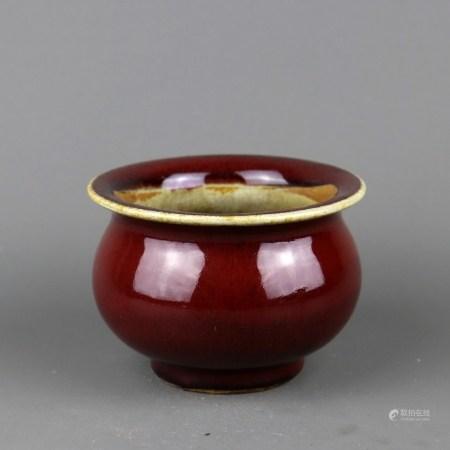 清代 红釉折沿罐