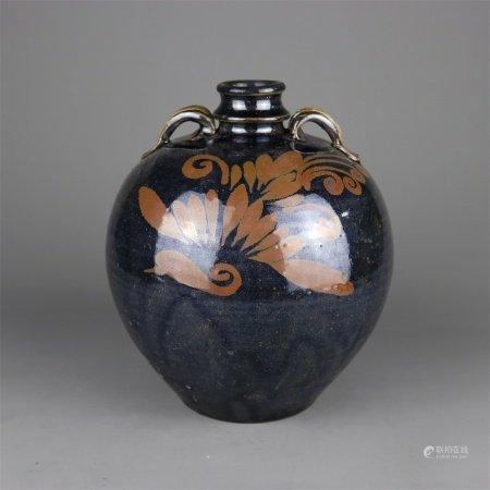 宋代 黑釉铁锈花花卉纹双系吐蕃瓶