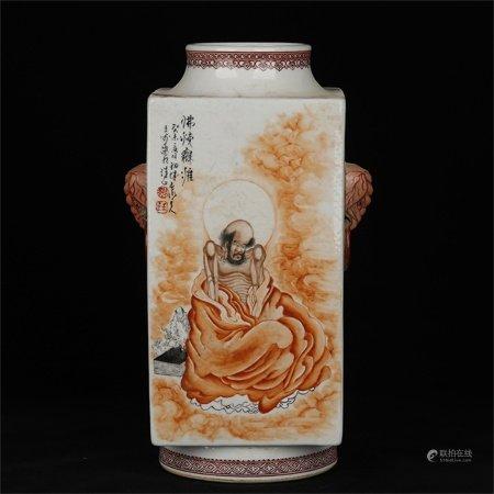 民国 王步矾红人物诗文四方瓶