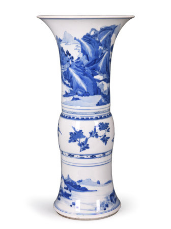 Kangxi Blue and White Beaker Vase, Gu