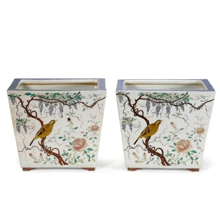 Pair of Guangxu 'Birds and Flower' Porcelain Planters
