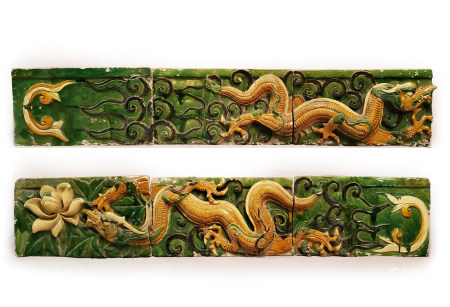 Ming Dyn. Excellent 6-Part Sancai Glazed Temple Frieze