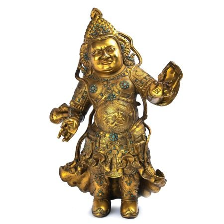 Large Gilt Bronze Figure With Stone Inlay