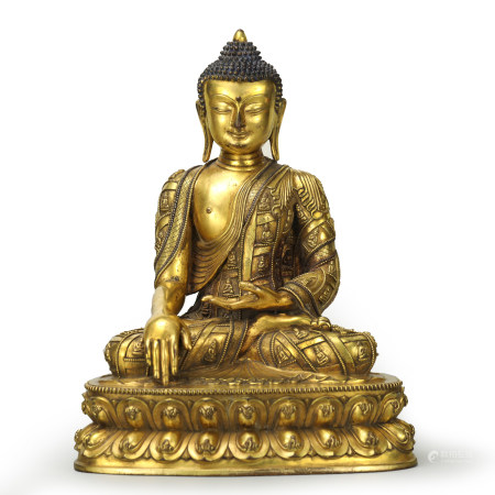 A Gilt Bronze Figure of Sakyamuni Buddha with