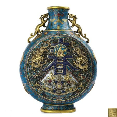 Finely Casted Cloisonne Enamel Moonflask, Qianlong Mark