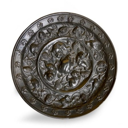 A Bronze 'Mythical Beasts and Grapevine' Mirror