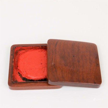 明 黃花梨印泥方盒