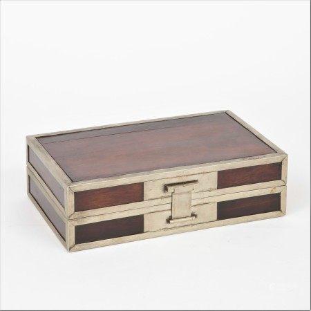 清 白銅邊紫檀供盒