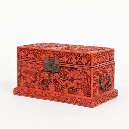 十九世紀 剔紅雲龍山水壽字紋寶物盒