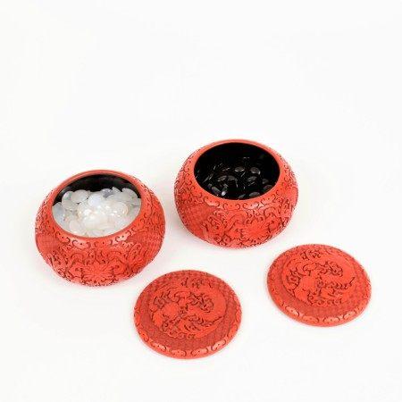 剔紅花卉紋圍棋盒 帶冰糖瑪瑙籽