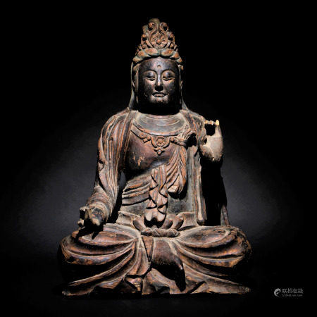 元 木雕漆金加彩觀音坐像
