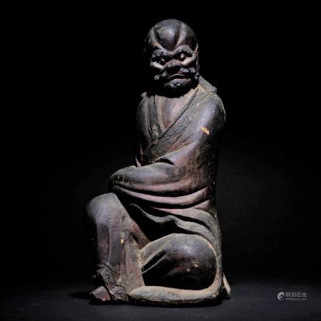 明 木雕達摩座像