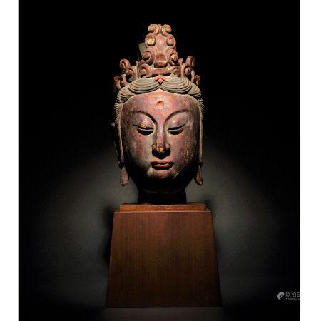 宋-元 木雕漆金加彩觀音佛首
