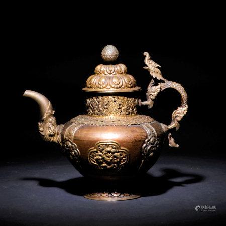 清十八世紀 銅鎏金龍紋灌頂壺