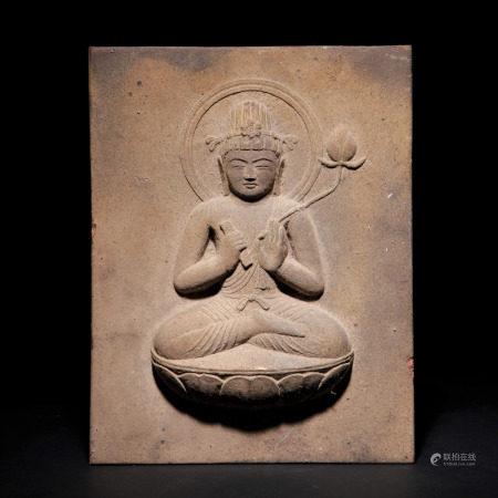 十八世紀 石雕觀音岩板