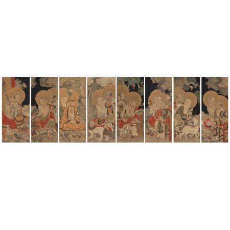 古代佛畫十六應真圖羅漢 八幅對