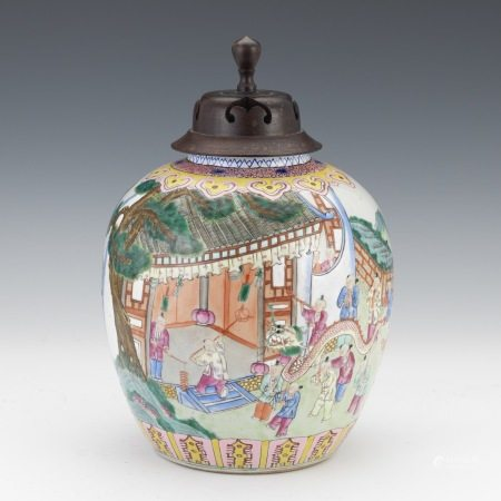 Chinese Famille Rose Jar with Lid
