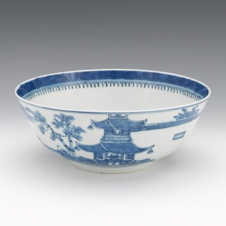 Chinese Blue and White Porcelain Signed Bowl, ca. late Qing Dynasty