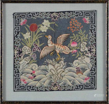 Chinesisches RangabzeichenBesticktes Seidenabzeichen. 25 x 26 cm.