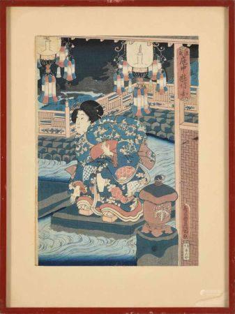 Sammlung von drei japanischen Aquarellen und vier Holzschnitten36 x 26 cm und kleiner.