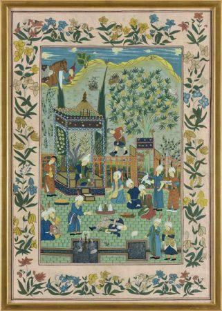 Persische SchuleZwei Gemälde. Höfische Szenerien.Mischt., und Goldfarben auf Seide oder feinem