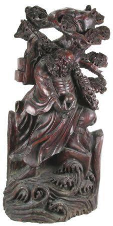 Daoistischer Sternengottmit dem Pfirsich des langen Lebens in der Hand. China Qing-Dynastie um 1900.