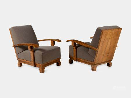 Pair of Art Deco High-Back Burl Walnut Lounge Chairs Height