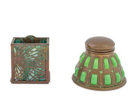 A Tiffany Studios Patinated Bronze and Glass Inkwell and a P