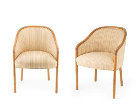 A Pair of Ward Bennet Upholstered Bentwood Chairs