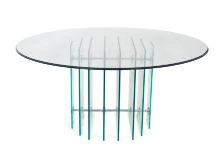 A Modernist Glass and Aluminum Circular Dining Table Height