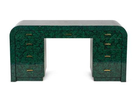 A Contemporary Green and Black Lacquer Pedestal Desk Height