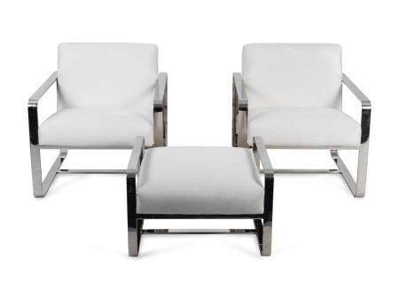 A Pair of Mitchell Gold Chromed Armchairs and Ottoman Chair,
