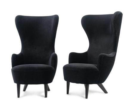 A Pair of Tom Dixon Wingback Chairs Height 50 x width 27 1/2