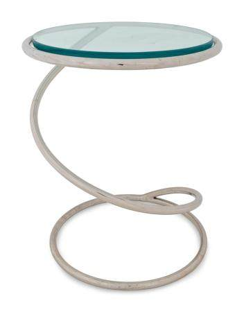 A Mid-Century Polished Chrome and Glass Spring Table Height