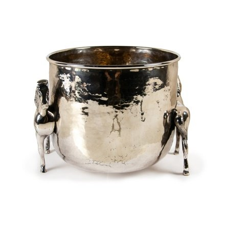 HAMMERED COPPER SILVER HORSE BUCKET